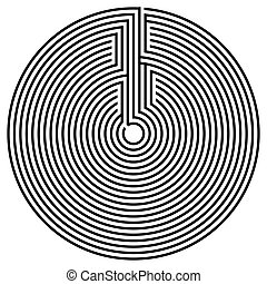 Black round labyrinth - Vector spiral optical illusion in...