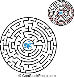 Black round maze. Game for kids. Children s puzzle. Many entrances, one exit. Labyrinth conundrum.
