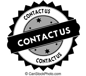 Black round stamp with CONTACT US text.