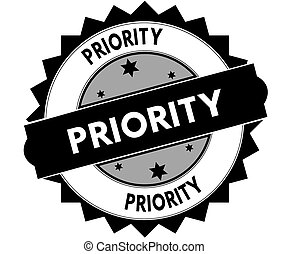Black round stamp with PRIORITY text.