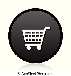 Black round vector Shopping cart silver metallic chrome round web icon on white background with reflection