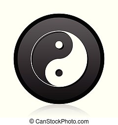 Black round vector Ying yang silver metallic chrome round web icon on white background with reflection