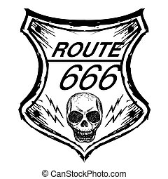 black route 666 sign on a white background, hand drawn, ...