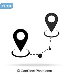 Black Route location icon isolated on white background. Map pointer sign. Concept of path or road. GPS navigator. Vector Illustration