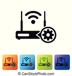 Black Router and wi-fi signal and gear icon on white background. Adjusting app, service concept, setting options, maintenance, repair, fixing. Set icon in color square buttons. Vector Illustration