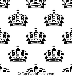 Black royal crown seamless pattern