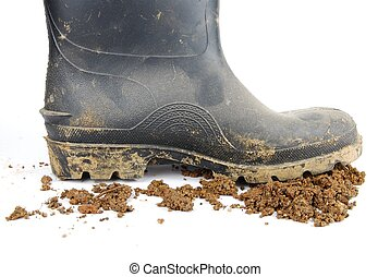 Black rubber boot and soil on white