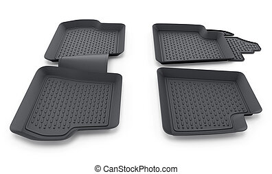 Black rubber car mats isolated on white background. 3D illustration
