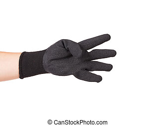 Black rubber protective glove. Isolated on a white...
