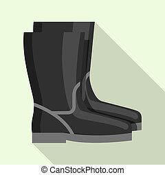 Black rubber welder boots icon, flat style