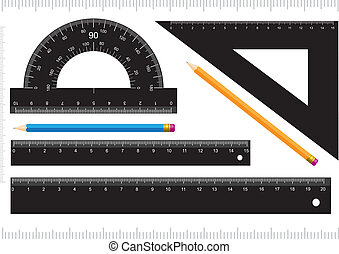 Black ruler, measuring scale, protractor and pencil isolated...