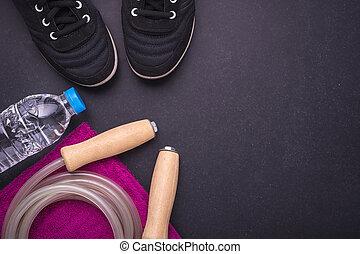 Black Running / Sneaker shoe, water bottle, towel and ...