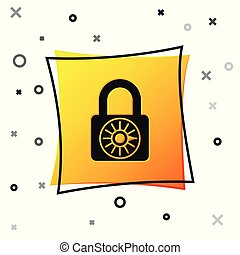 Black Safe combination lock wheel icon isolated on white background. Combination padlock. Security, safety, protection, password, privacy concept. Yellow square button. Vector Illustration