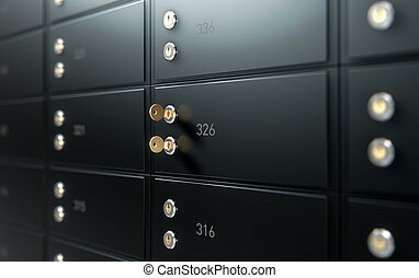 Black Safe Deposit Box Wall - A 3D render of a closeup of a...