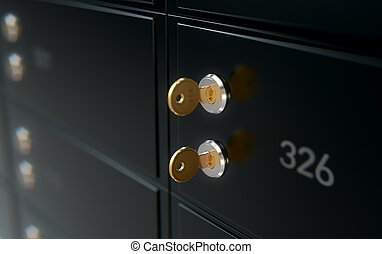 Black Safe Deposit Box Wall - A 3D render of a closeup of a...
