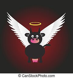 black saint cow with great white wings eps10