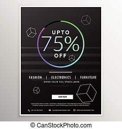 black sale flyer banner design template with minimal style