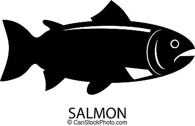 Black Salmon vector icon - Vector illustration of an all...