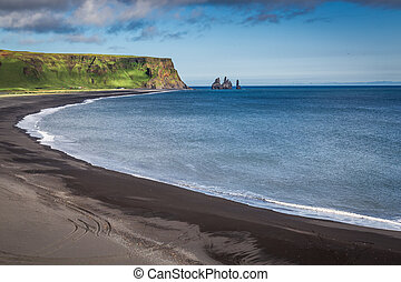 Black sand beach at the sea in Iceland
