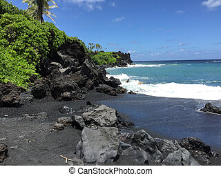 black sand beach in hawaii