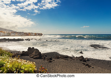 black sand beach in Puerto de la Cruz city. Tenerife