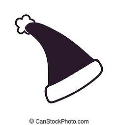 Black Santa Claus Hat Icon Vector Illustration - Black Santa...