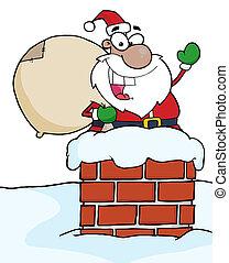 Black Santa In A Chimney And Waving