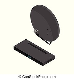 Black satellite decoder, reciever and antenna isometric view. TV icon set