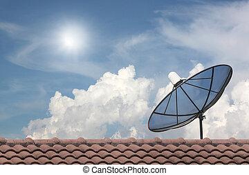 Black Satellite dish. - Black Satellite dish on blue sky...