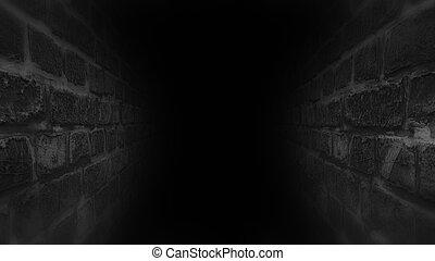 Black scary corridor. Running in the dark corridor. -...