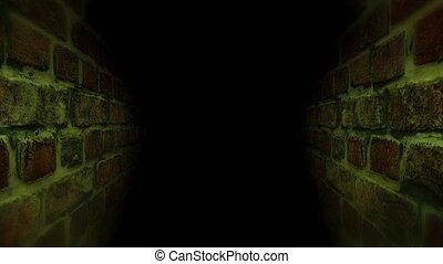 Black scary corridor. Running in the dark corridor