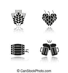 black , schaduw, bier, iconen, set, druppel