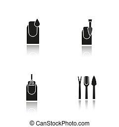 black , schaduw, manicure, iconen, set, druppel