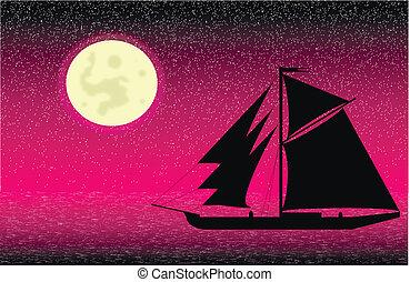 black , scheeps , silhouette, zee, nacht