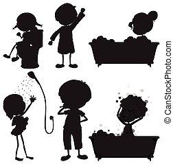 black , schetsen, van, de, anders, morgen, routines