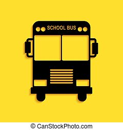 Black School Bus icon isolated on yellow background. Long shadow style. Vector