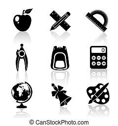 Black School Icons Set