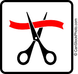 black scissors cutting red ribbon on white background in...
