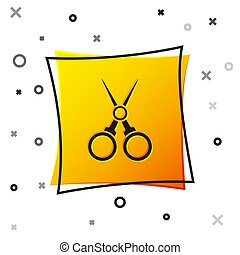 Black Scissors hairdresser icon isolated on white background. Hairdresser, fashion salon and barber sign. Barbershop symbol. Yellow square button. Vector Illustration