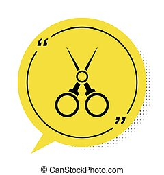 Black Scissors hairdresser icon isolated on white background. Hairdresser, fashion salon and barber sign. Barbershop symbol. Yellow speech bubble symbol. Vector Illustration