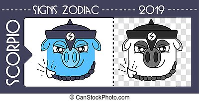 black scorpio zodiac pig