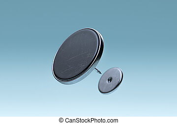 Black Scratched Blank Pin Button With Empty Space Isolated On Blue Gradient Background, 3d rendering.