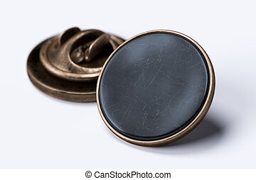 Black Scratched Blank Pin Buttons With Empty Space On White Background, 3d rendering.