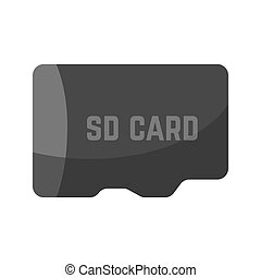 Black SD card device icon isolated on white. Technic...