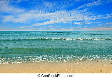 Black sea beach blue sky sand sun daylight