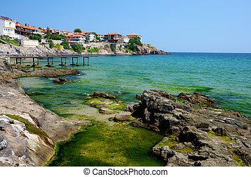 Black Sea coast in old town of Sozopol, Bulgaria