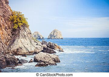 Rocky coast of the Black Sea. Crimea