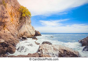 Rocky coast of the Black Sea. Gurzuf, Crimea