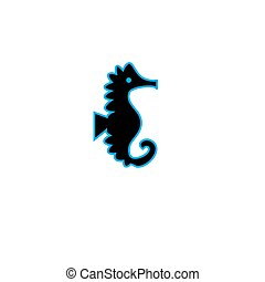 Black sea horse vector icon isolated