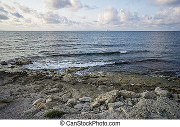 Black sea in ancient Greek polis Chersonese in Sevastopol, Crimea.